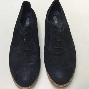 UGG Black Suede Leather Lace Up Oxford Shoes